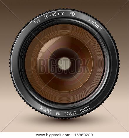 Una ilustración de vector de lente de cámara con reflejos realistas sobre fondo marrón
