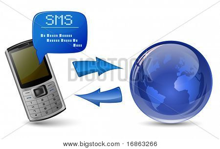 Send and Receive SMS Messages. Communication concept. Mobile phone, SMS, Arrows and Globe.
