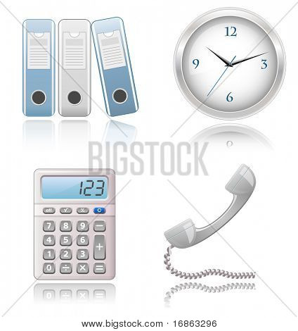 Icons Set - Office supplies. Highly detailed icons with a reflection.