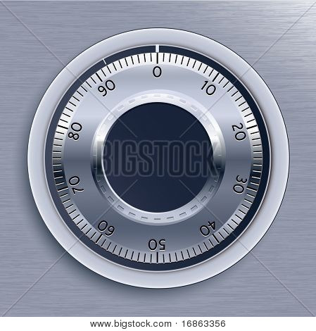 Blue Toned Strongbox Lock. Vector Illustration.