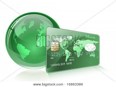 Credit or debit card and Globe. Global payment concept.