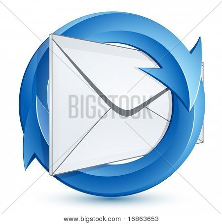 Mail envelope and blue circular arrows. E-mail marketing concept.