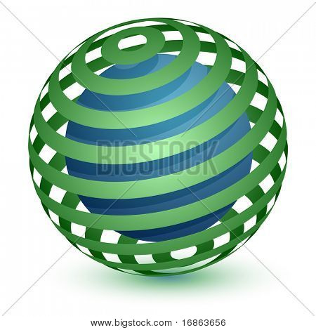 Abstract Globe Icon. Communication and Network Concept. Ribbon Around a Sphere.