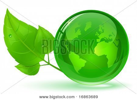 Globe and green leaves with drop of water. Eco Concept (vector version in portfolio)