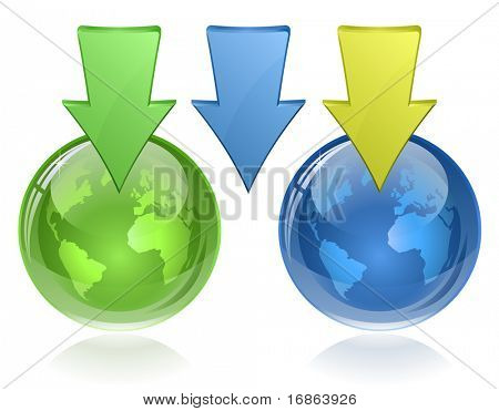 Glossy globe and arrows. Download icons.