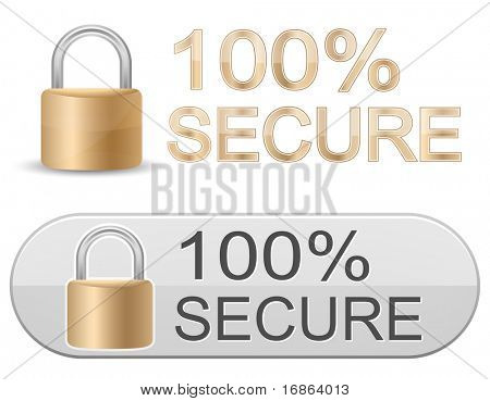 Metallic padlock. 100% Secure. SSL Certificates Sign for website.