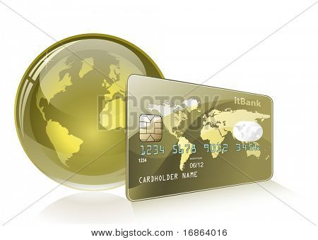 Credit card with world map and Globe. Payment concept. Internet Banking.