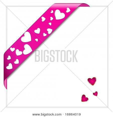 Heart shaped perforated Valentine pink ribbon