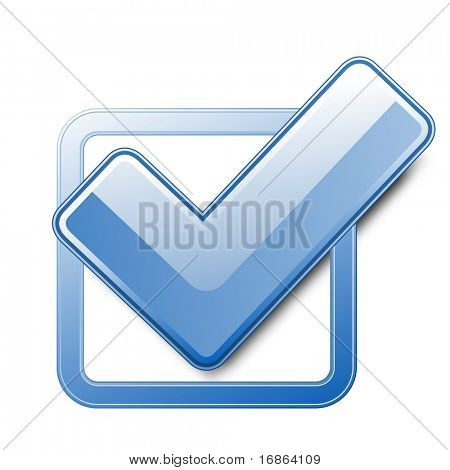Blue check box with check mark