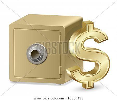 Caja fuerte con un candado de combinación y el signo de dólar