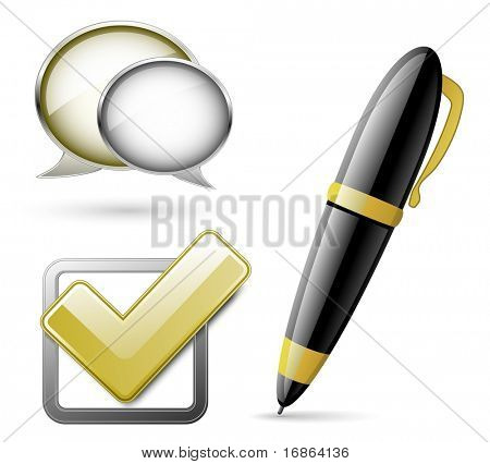 Dialog bubbles, Check mark and Pen. Signs for corporate website.