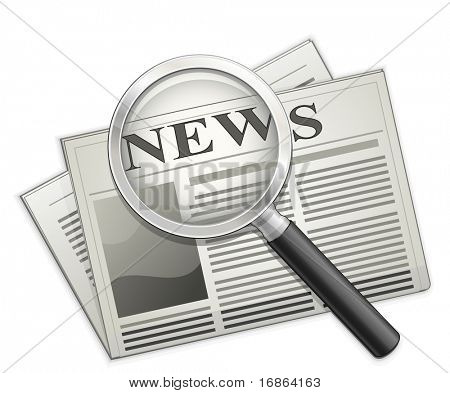 Newspaper and Magnifying glass. Vector newspaper icon