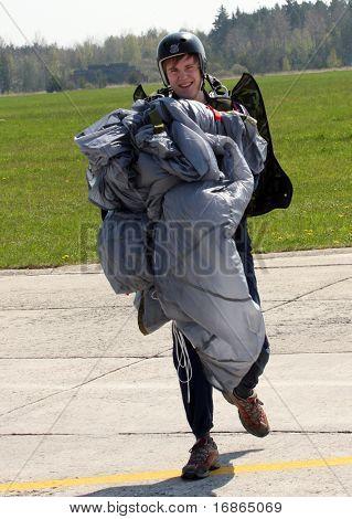 Paratrooper in airport Pilsen Line - Czech Republic Europe