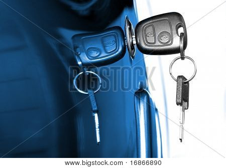 Key at car doors - close up