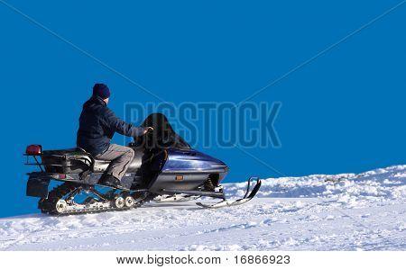 Man on snowmobile