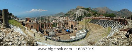 Famous greek, classical theater, in Taormina - Sicily Island - Italy - Europe. Panoramic photography