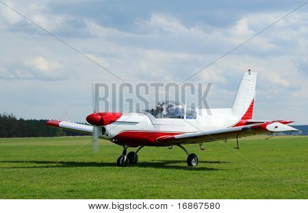 Czech sports plane Zlin - Z43 in Plasy airfield