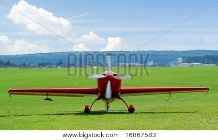 Sports plane in Plasy airfield