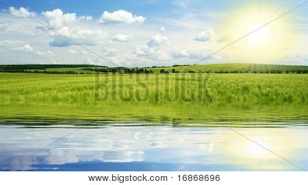 Summer lake landscape in Czech Republic