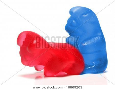 Loving jelly bears couple on a white background - conceptual image - on white background