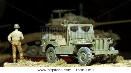 WWII scene Us soldier with car - marking on car is fictive - plastic kit 1:48 scale homemade work