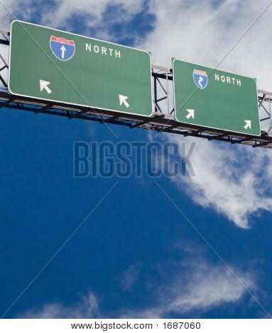 Blank Double Freeway Sign
