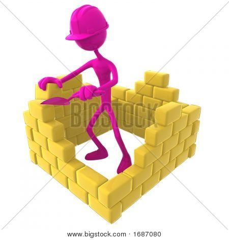 3D Human Trying To Build A Wall. Under Construction.