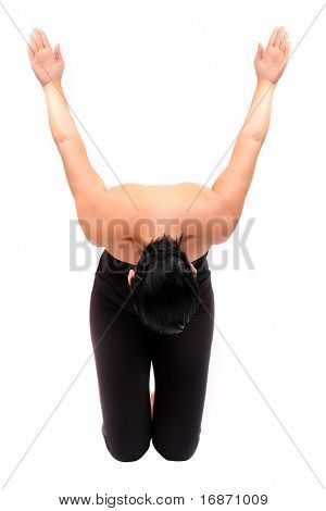 Attractive girl in black sport clothes represents letter Y