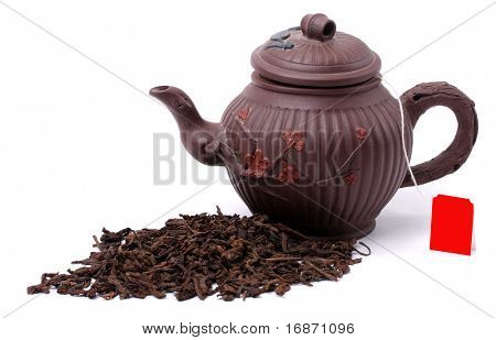 Aromatic black pu-erh tea from yunnan province in China. Healthy hot drink, natural anti-biotic medicine.