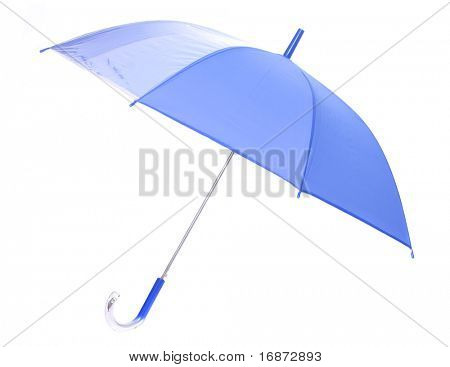 Studio shot of classic blue umbrella isolated on white.