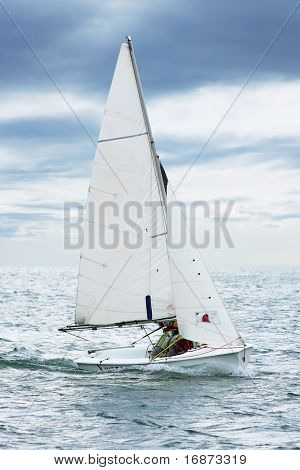 The yacht on sea. Ecological transportation.