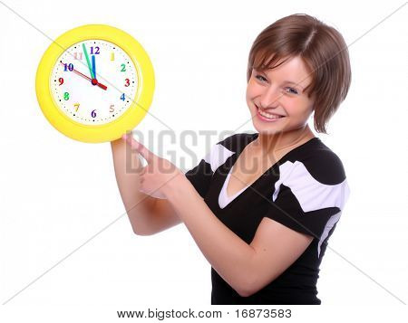 Beautiful blonde holding funny clock. Conceptual image. Great for tourist trade brochure and advertising - Last minute concept