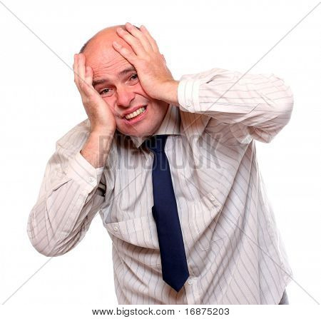 Frustrated senior businessman on white background