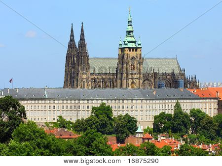 Prague Castle is a castle in Prague where the Kings of Bohemia, Holy Roman Emperors and presidents of Czechoslovakia and the Czech Republic have had their offices. Bird's-eyeview.