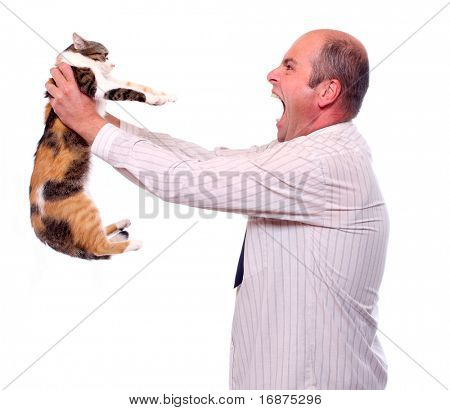 Funny picture. Angry businessman with cat.  Bossing metaphor.