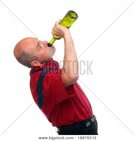 Drunken businessman holding a wine bottle.