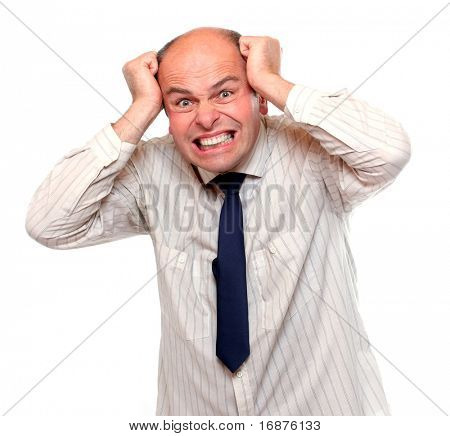 Frustrated businessman on white background