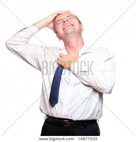 Frustrated businessman with hearth attack on white background.
