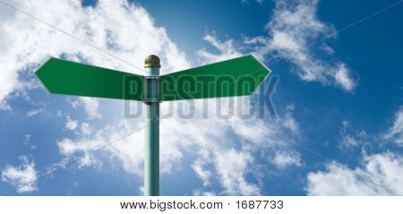 Blank Street Sign Post With 2 Signs