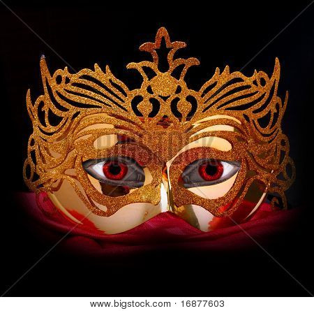 Demonic mask for masquerade. Great for halloween brochures and advertisements. Unauthorized homemade paper product.