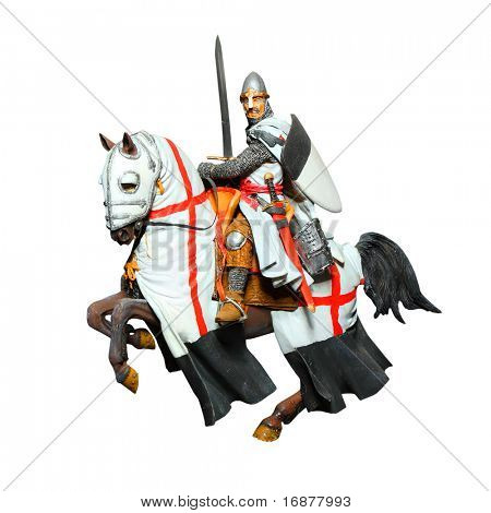 Medieval knight - crusader with a sword on a battle horse. Unauthorized homemade work (plaster figure - scratchbuild).