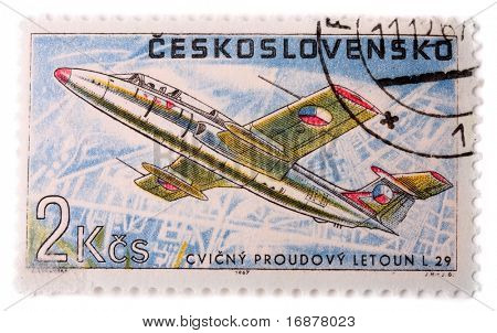 CZECHOSLOVAKIA - CIRCA 1967: A stamp printed in The Czechoslovakia shows image famous training jet aircraft Aero L 29 Delfin, series, circa 1967