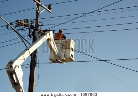 Worker Cherry Picker