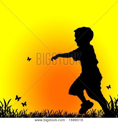 Boy Running At Sunset