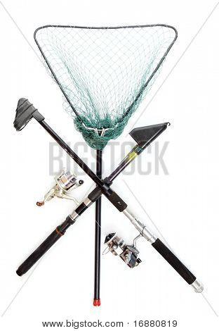 Fishing rods with reels and landing net.