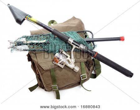 Fishing rod with reel and landing net with a back-pack.