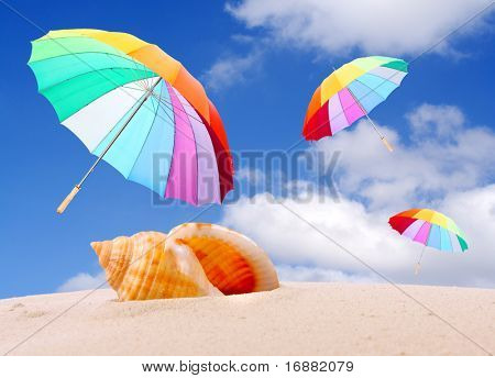 Tropical beach with rainbow umbrellas flying in stormy wind. Stormy weather (end of holidays) metaphor.