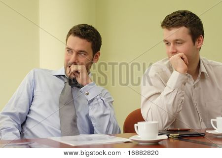 Two business men at the informal  meeting - casual