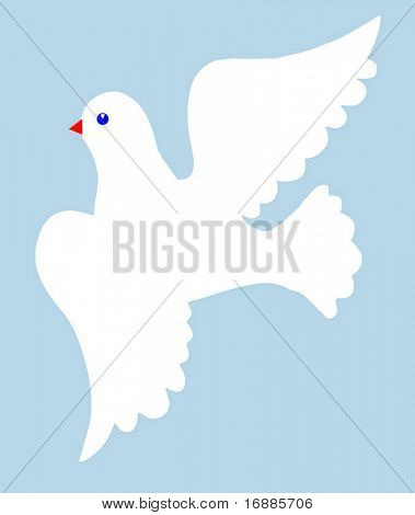 vector illustration of the dove on  blue background