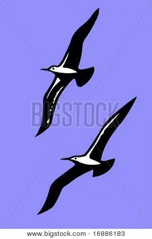 Vektor-Silhouetten der Seevögel auf Hintergrund blauer Himmel